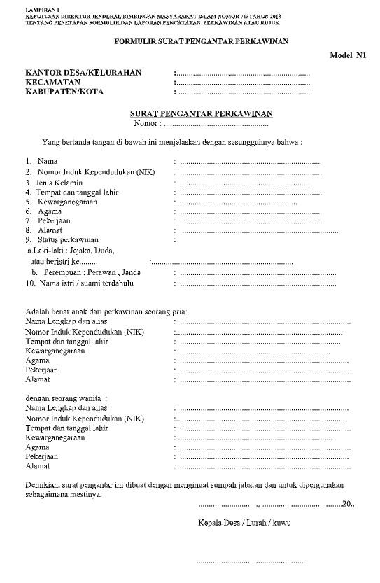 Surat Pengantar Perkawinan